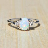 Wholesale opal bridal set - Women's 925 Sterling Silver Ring Oval Cut Fire Opal Diamond Jewelry Birthday Proposal Gift Bridal Engagement Party Band Rings