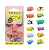 alambre de animales al por mayor-Cute Animal Bite USB Lightning Cargador Cubierta de protección de datos Cable Mini Cable Protector Cable Accesorios para teléfonos Regalos creativos 31 diseños
