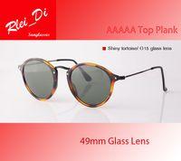 sunglasses white glass circle Australia - AAAAA Top Quality Round Glass Lens Sunglasses Womens Mens Sunglasses Retro Circle Hinge Frame UV400 Plank 49MM Vintage Eyewear With Case Box