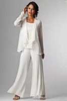 Wholesale Trousers Women Elegant - Elegant White Chiffon Lady Pants Suits Mother of The Bride Groom With Jacket Plus Size Women Party Dresses Trouser Suit Custom Made