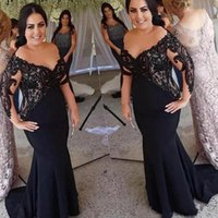 resmi elbiseler toptan satış-Artı Boyutu Siyah Dantel Anne Gelin Elbiseler Uzun Kollu Mermaid Örgün Abiye giyim Düğün Kadınlar Vestidos Anne Elbiseler