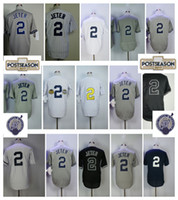 Wholesale Grey Pinstripe - 2 Derek Jeter Baseball Jersey Men Cooperstown Flexbase Cool Base Baseball Jerseys Home White Pinstripe Size M-XXXL