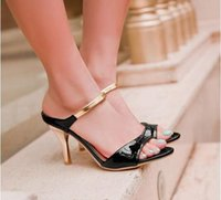 Wholesale white high heel sandals 12 - 2017 Big Size US4-12 Fashion High Heels Flips Gladiator Sandals for Women Open Toe Platform 4 colors Sandals Summer Shoes