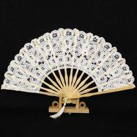 düğün için dantel el fanlar toptan satış-Toptan 27 cm Beyaz Dantel Fan Gelin Düğün El Hayranları Katlanır Ahşap Fan DIY Ev Dekorasyonu Zanaat Doğum Günü Partisi Için