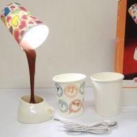 pil kahve toptan satış-DIY Kahve dökün Abajur lambası LED Aşağı Gece Lambası Ev USB Pil Çalışma Odası Dekorasyon Yenilik Öğeleri için Dökme Masa Işık GGA885