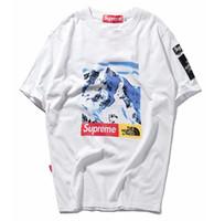 Wholesale Name Brand Shorts - 2018 Harajuku streetwear print Street tide brand joint named Snow Mountain short sleeved T - shirt justin bieber outdoor sport shirt