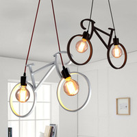 Wholesale iron dining - Retro Nordic Modern Iron Bicycle Chandelier Cafe Lighting LED Loft Bar Ceiling Lamp Bedroom Droplight Store Home Decor Gift