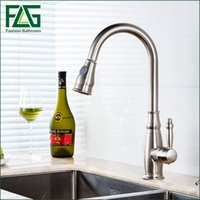 Wholesale flexible faucet - Contemporary Style Nickle Brushed pull out kitchen faucet, flexible copper faucet sprayer kitchen faucets Mixer Taps