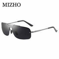 солнцезащитные очки синие зеркальные линзы без оправы оптовых-MIZHO алюминиевый магния солнцезащитные очки поляризованные ободок покрытие синий зеркало линзы солнцезащитные очки oculos мужской очки аксессуары для мужчин