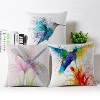 Wholesale bird throw pillows - 2017 Cushion Cover Bird animal Pillow Case Firm Flower self-portrait Sofa painting Bedroom Home Decorative Throw Pillow Cover
