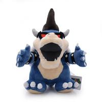 mario bowser puppe großhandel-Gute Qualität Super Mario Plüschtiere 28cm / 11 Zoll blau Bowser Koopa Plüsch Puppe weiche Kuscheltiere EMS Versand C5038