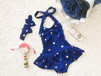 Wholesale Swimwear Baby Bikini Blue - baby girls dot bowknot bow bikini suit swimwear swimsuit bathing swimming clothes kids girls one-piece swimwear with headband