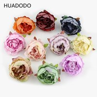 Wholesale Blue Head Pieces - 10 pieces 5cm Peony flower head silk Artificial Flowers For Wedding Decoration DIY Decorative Wreath Fake Flowers