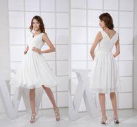 Wholesale modest purple knee length dress resale online - 2018 New Modest Simple High V Neck Chiffon Bridesmaid Dresses Knee Length Sleeveless Zipper Back Cheap Maid of Honor Gowns