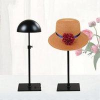 peruk direği toptan satış-Siyah Metal Şapka Ekran Çerçevesi Ayarlanabilir Cap Tutucu Standı Raf Sahne Peruk Yaratıcı Direnç Güz Moda Gösterisi Raf 52cs ff