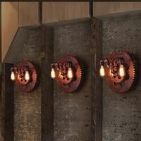 ingrosso passaggio corridoio-Regron Rusty Industrial Applique marrone E27 Apparecchio a parete Led Applique a parete doppio tubo Banheiro Corridor Bar Cafe Restaurant Corridor