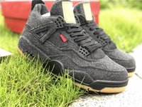 Wholesale best art canvas - Hottest Sale Authentic Top Best Quality 4s IV Black Denim Men Basketball Shoes Brand Outdoor Sneaker Sports Shoes AQ9103-100 Free Shipping