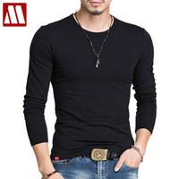 Wholesale Stitching Designs Shirts - Cotton T Shirt Men Brand 2017 Fashion Men's Label Stitching Design Tops & Tees T Shirts Men Long Sleeve Slim Tshirt Homme XXXXXL