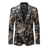 Wholesale Notch Collar Slim Fit Suits - YFFUSHI 2018 New Spring Men Suit Jacket Skull Print Floral Blazer Notched Collar Casual Style Slim Fit Fashion Design