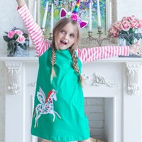 Wholesale costumes england for sale - Girls Dresses with Animal Applique Autumn Winter Baby Girl Clothes Kids Long Sleeve Dress Princess Costume