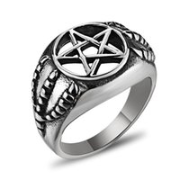 Wholesale Eagle Claw Rings - High-Quality Creative Five Star Eagle Claw Ring Personalized Fashion Punk Wind Polished Titanium Steel Men Ring Jewelry 6C0726