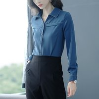 новые корейские стили блузки оптовых-2018 new arrival autumn women blouse Vcollar novelty design long sleeved Korean style women top dark color chiffon shirt 1089 40