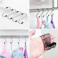 Wholesale Curtains Bag - New Stainless steel Multi-function S shape hook hrome Plated Shower Bath Bathroom Curtain Rings Clip Easy Glide Hooks 4pcs bag T1I354