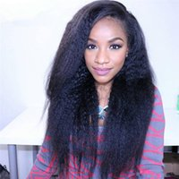 Wholesale cheap full lace yaki human hair online - Cheap Human Hair Virgin Kinky Yaki Straight Lace Wigs for Black Women Heat Resistant Glueless Full Lace Wigs with Baby Hair