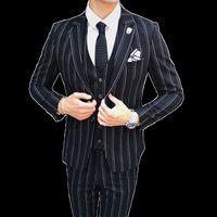 голубой зимний пиджак мужчины оптовых-Autumn and Winter Mens Striped Dress Suit Black Navy Blue High-end Business Wedding Banquet Men Blazer Jacket + Vest + Pants