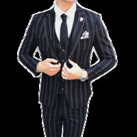 männer s blazer marineblau großhandel-Herbst und Winter Mens Striped Dress Suit Schwarz Navy Blue High-End Business Hochzeit Bankett Männer Blazer Jacke + Weste + Hosen