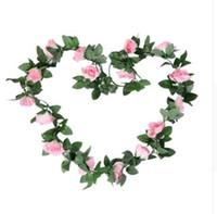 столовые лозы оптовых-OurWarm Свадебный Декоарт Цветок Гирлянда 2.3 М Шелковые Розы Лозы Свадебный Стол Украшения Центральные Искусственные Розы Гирлянды