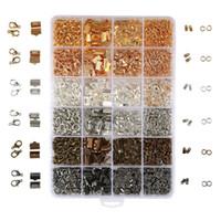kit de ruban de couleur achat en gros de-Kit de résultats de bijoux ouvert anneaux de saut de pince de homard fermetures de ruban fin de ruban pour la fabrication de bijoux 2460PCS / boîte 24 style 6 couleurs