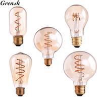ingrosso a19 ha condotto la lampadina e26-Edison Spiral Filament LED Bulb 3W Dimmerabile A19 T45 ST64 G80 G95 Super caldo 2200K E26 E27 Base decorativa per uso domestico Illuminazione