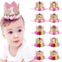 sombrero decoración de cabello al por mayor-Baby Girl First Birthday Party Hat Decoraciones Hairband Princesa Queen Crown Lace Hair Band Elástico Head Wear Hat Regalos para niños
