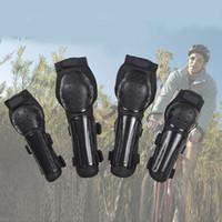 Wholesale motorcycle shin guards - Motorcycle Bike Racing Elbow Knee Shin Armor Guard Pads Protector Set Black Protective Gear Pad DDA301