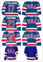 camiseta de hockey azul de estados unidos al por mayor-Hombres 30 Jim Craig 21 Mike Eruzione 17 Jack O'Callahan 1980 EE. UU. Jersey de hockey azul blanco Equipo de EE. UU. Milagro en camisetas de año alternativo