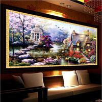 ingrosso nuovo giardino di paesaggio-New Hot Diy 5d Diamante Mosaico Paesaggi Garden Lodge Full Diamond Pittura Punto Croce Kit Diamante Ricamo Decorazione Domestica