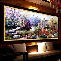 elmas çapraz çapraz toptan satış-Yeni Sıcak Diy 5d Elmas Mozaik Manzara Bahçe Köşkü Tam Elmas Boyama Çapraz Dikiş Setleri Elmas Nakış Ev Dekorasyon