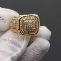 Wholesale micro invisible - HIP Hop Micro Pave Rhine zirconia Iced Out Bling Square Ring Golden plated stable copper finger Rings for Men rock Jewelry 2018