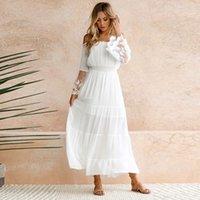 langes weißes tunika-kleid großhandel-Elegante Spitze Weiß Tunika Sommer Maxi Kleid Frauen Slash Neck Trägerlosen Langarm Strand Boho Langes Kleid Vintage Kleider Vestidos
