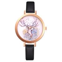 reloj de cuarzo mariposa al por mayor-Vestido de lujo de las mujeres de cuero relojes reloj de moda flor mariposa señoras pulsera mujer reloj redondo reloj de cuarzo nuevo