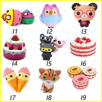 Wholesale owl toys for kids online - DHL Squishy Toys squishies Rabbit monkey owl panda pineapple mouse cake mermaid Slow Rising Squeeze Cute Cell Phone Strap gift for kid toys