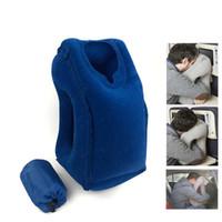ingrosso cuscini gonfiabili per il viaggio-Cuscino gonfiabile all'aperto Cuscino morbido Cuscino da viaggio portatile sull'aereo Cuscino per il collo pieghevole