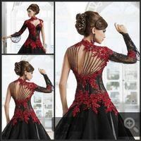 vestidos de novia rojos vestidos al por mayor-Sexy Negro Rojo Gótico Vestidos de Novia de encaje País Árabe Dubai 2018 Tren vestido de noiva Vestido de Novia Bola Para Novia Formal