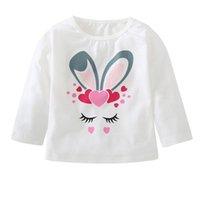 kaliteli küçük kız giyim toptan satış-Küçük tavşan baskı elbise hoodies çocuklar kazak kızlar için yüksek kalite tops tişörtü roupa ücretsiz kargo 4OT19