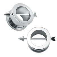 kulak tıkacı genişleticiler toptan satış-6-16mm Tüneller Kulak Tıkaçları Kulak Genişleticiler Paslanmaz Çelik Kulak Sedyeler Fişler Ve Tüneller Man Piercing Flesh Tünel Göstergeler 6mm