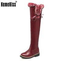 Wholesale ladies long fur boots - KemeKiss Size 32-43 Ladies Thick Fur Over Knee Long Boots Women Round Toe Side Zip Shoes Women Winter Warm Snow Botas Footwear