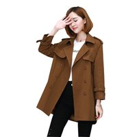 tranchée féminine achat en gros de-2018 printemps automne mode féminine manteau 3XL grande taille femmes coupe-vent version coréenne trench-coat à double boutonnage pour les femmes