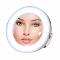 Wholesale Led Makeup Mirror Magnifying - Nosii Portable Round 3X Magnifying LED Makeup Stand Mirror Beauty Travelling