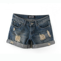 bermuda de alto e cintura de verão venda por atacado-Atacado-2018 Verão Mulheres Botão Buraco Shorts Jeans Calças Plus Size Mulheres De Cintura Alta De Algodão Denim Shorts Jeans Shorts Mulheres Jeans